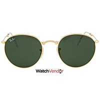 Ray Ban RoundMetal Folding Green Classic G-15 Sunglasses RB3532 001 50