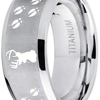 CERTIFIED 9MM Sating Finish/High Polish Deer Track Titanium Ring Wedding Band