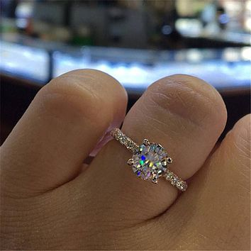 ZN 2018 Fashion Jewelry Engagement Ring Round Princess Ring For Women Rose Gold/Silver Wedding Ring Engagement Ring