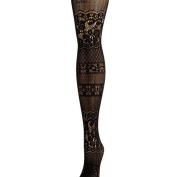 Floral Patch Net Tights
