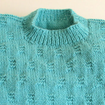 Mens Aqua Sweater, Crew Neck, Pullover Sweater