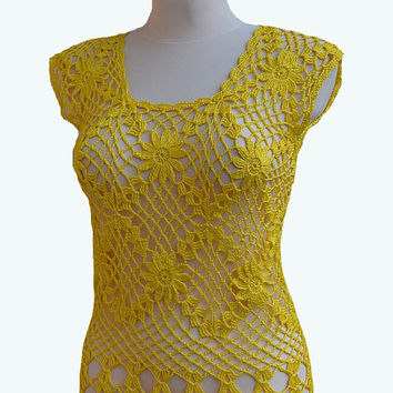 Crocheted top  blouse lace made to order, crochet handmade