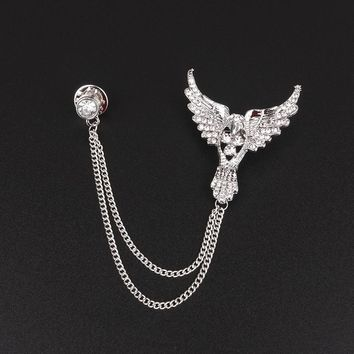 Mdiger Brooches Broches Eagle Fashion Crystal Brooch Tassel Chain Clip Sliver Gold Collar Shirt Buttoned Pin Male Accessories