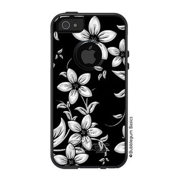 OTTERBOX Commuter iPhone 5 5S 5C 4/4s Case Black White Faux Metallic Flower design FASHION SERIES Collection