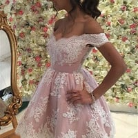 Pink Appliques Off-the-Shoulder Homecoming Dress, Short Prom Dress
