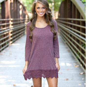 Autumn Lace Patchwork Long Sleeve Pale Violet One Piece Dress [8824617735]