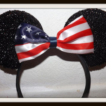 Minnie Mouse Ears Headband Black sparkle with USA American Flag Bow