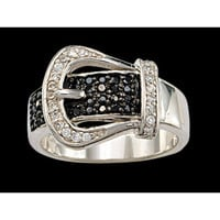 Montana Silversmiths Black Crystal Buckle Set Ring