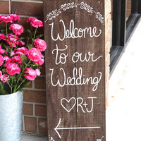 Rustic Wooden Wedding Sign - Welcome Sign - Wedding Keepsake - (WD-20)