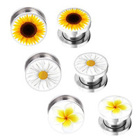 Ear Gauges 14mm Flowers Plugs Kit - 6 pieces