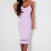 Juniper Lilac Mesh Panel Bodycon Midi Dress | Pink Boutique
