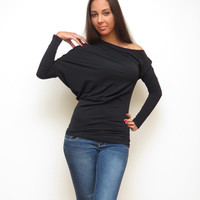 Asymmetric top black off shoulder loose batwing shirt