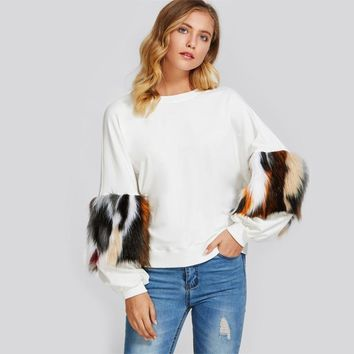 Shoulder Pullover With Faux Fur