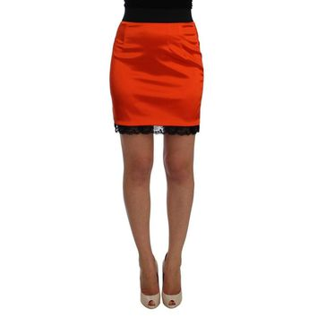 Dolce & Gabbana Orange Black Lace Pencil Skirt