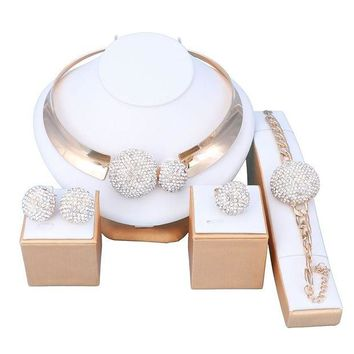 DCCKV2S OUHE18K Gold Plated Crystal Jewelry Sets Women Costume Wedding Party Necklace Earrings Bracelet Ring