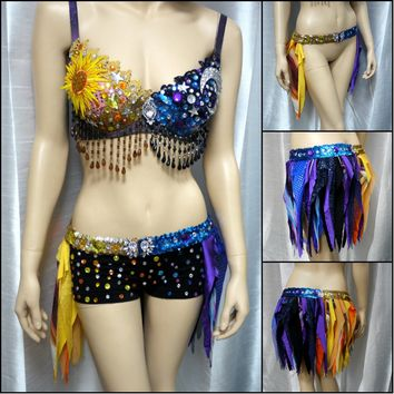 Sun and Moon bra and Half Skirt Dance Halloween Costume -Shorts sold separately-