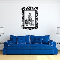 Vinyl Wall Decal Sticker Bedroom Chandelier Frame Beautiful Interior Luster r1551