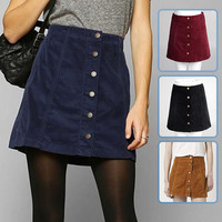 In the fall of the new front buckle A word skirt cultivate one's morality corduroy skirts