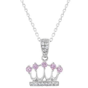 """925 Sterling Silver Pink Clear CZ Princess Crown Necklace Pendant Girls Kids 16"""""""