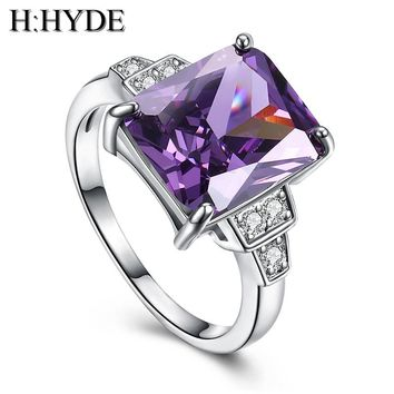 H:HYDE Weddings/bride Pink Large CZ Stone jewelry Silver Color Rings charming lady nice party ring size 7-9 anillos mujer