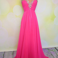 Elegant rose chiffon handmade floor-length beaded lady prom dress, graduation dress, party dress with sequins