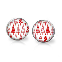 Red Christmas Tree Earrings Xmas Tree Earrings - Xmas Studs Xmas Earrings - Christmas Jewelry Xmas Jewelry - Red and White Christmas Gift
