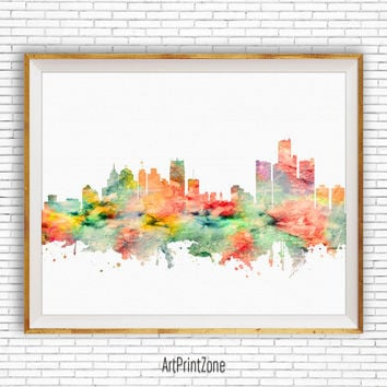 Detroit Print Detroit Art Detroit Skyline, Detroit Michigan Office Decor Office Art, Watercolor Skyline, Watercolor City Print, ArtPrintZone