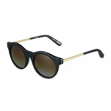 Elizabeth and James Crawford Round Combo Sunglasses, Black/Gold