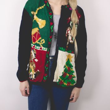 Vintage Tree Knit Cardigan Ugly Christmas Sweater