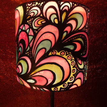 Pink Psychedelic Design, Hand Silk Painted Lamp Shade, 20cm Drum, Made To Order.