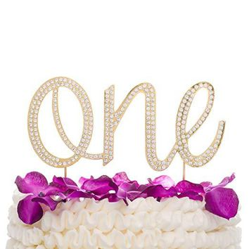 One Cake Topper - Gold