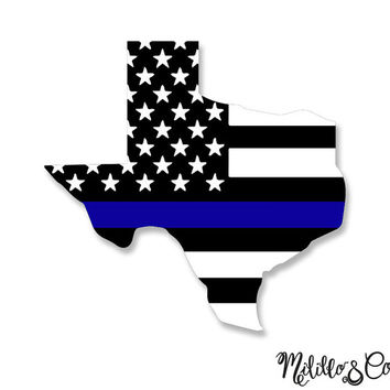 Thin Blue Line Police Texas American Flag Car Decal Sticker