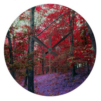 Red Tree Forest Wall Clock