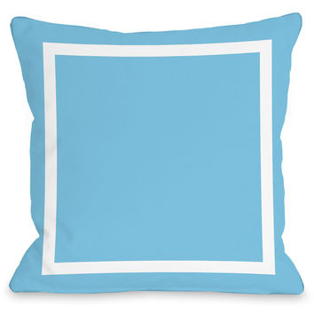 """Samantha Square"" Outdoor Throw Pillow by OneBellaCasa, Aqua Blue, 16""x16"""