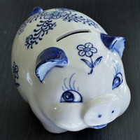 Delft Blue & White Ceramic Piggy Bank