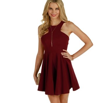 Burgundy My Love Skater Dress