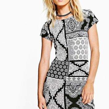 Kerry Paisley Print Mini Bodycon Dress