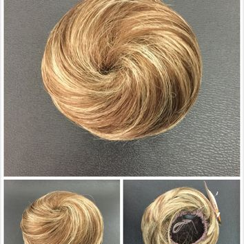 Hair Piece, Hair Bun With Elastic,Brown With Blonde Streaks 12/234,Bridal Hair