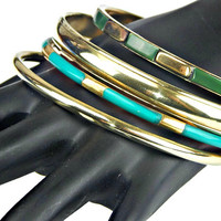 Brass and Green Enamel Bangle Four Stack Bracelets