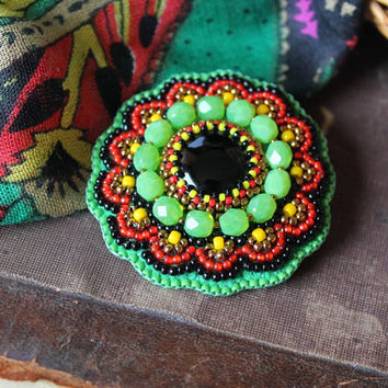 Black Green Brooch Cabochon Brooch Colorful Beaded Pin Bead embroidery Brooch Beadwork Brooch Black Onyx Brooch Gift for her MADE TO ORDER