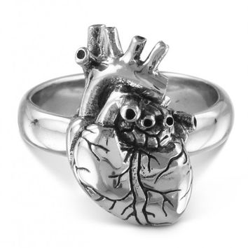 """Anatomical Heart"" Ring by Lost Apostle (Antique Silver)"