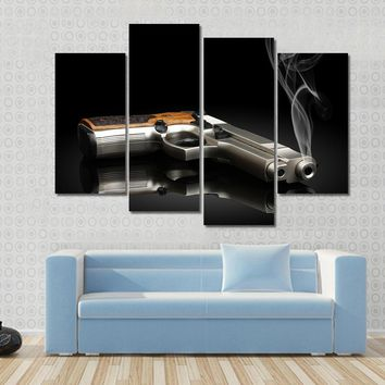 Chromed Handgun With Smoke Multi Panel Canvas Wall Art