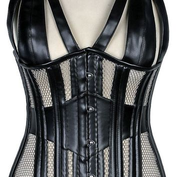 Daisy Corsets Top Drawer Faux Leather & Fishnet Steel Boned Halter Top Corset
