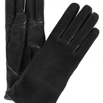 Lanvin Black suede and leather gloves