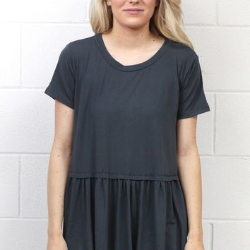 Cutest Suedette Relaxed Peplum Ever {Charcoal}