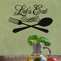 Let's Eat Swirl Fork and Spoon Family Dinner Dinner Table Food Kitchen Cooking Vinyl Wall Decal Sticker