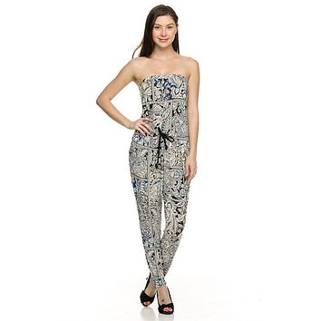Paisley Printed Strapless Tube Tie Waist Full Length Jumpsuit
