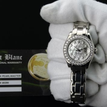 ROLEX Ladies White Gold Pearlmaster Mother Of Pearl Diamond 80299 SANT BLANC