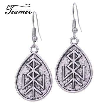Teamer Water Drop Earrings Religious Runes Earrings Antique Silver Color Amulet Jewelry Gifts for Women EH111333
