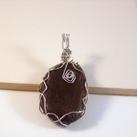 "RUSTIC CHARM - Wire Wrapped Black Stone Pendant with Natural Silver Aluminum. Oblong Stone 45x30mm or 1 1/2"" x 1"""